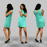 woman green dress 3d obj
