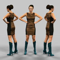 girl leather dress 3d fbx