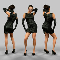 girl leather dress gloves 3d model