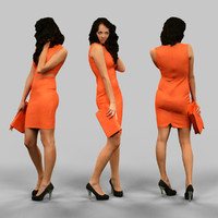 3d woman orange dress model