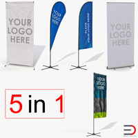3d model banner stands generic