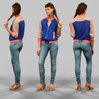 girl jeans blue 3d fbx