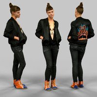 3d girl black flamingo jacket