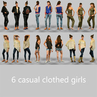 6 girls casual clothing 3d model
