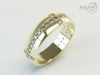 3d model ring gold diamonds