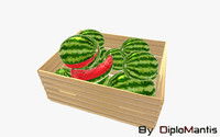 3d model box watermelons