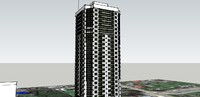 3d model of high-rise apartment building
