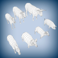 Domestic animals base meshes