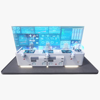 3d futuristic command panel 2 model