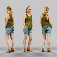 3d model of girl green jeans short