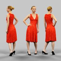 woman long red dress 3d model