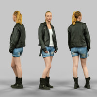 girl leather jacket 3d obj