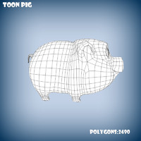 base mesh cartoon pig 3d model
