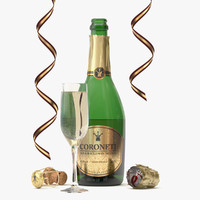 bottle glass coroneti champagne 3d max