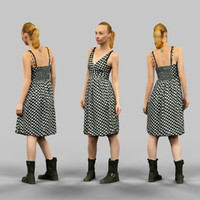 3d girl dress polka dot
