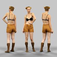 girl shorts 3d model