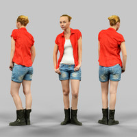 3d girl jeans shorts red