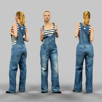 3d girl jeans salopet