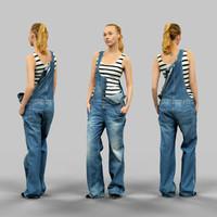 3d model girl jeans salopet half