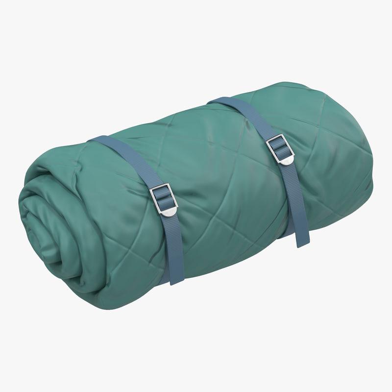 Folded Green Sleeping Bag 3d model 00.jpg