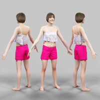 girl pink short a-pose 3d model