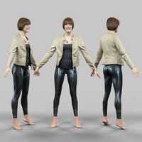 girl shiny leggings jacket 3d model