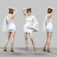3d girl posing white dress model