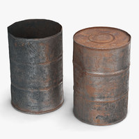 3d model old oil rust barrel