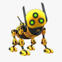 robot dog rigged 3d obj