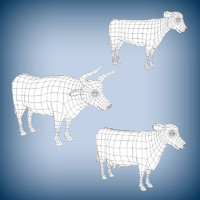 3d model of cow base mesh bull