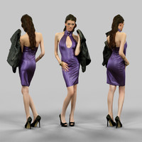 3d model of girl latex holding jacket