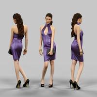 girl latex dress 3d model