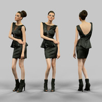 3d model girl leather dress