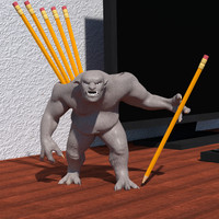desk troll pencils 3d model