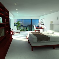 3d contemporary bedroom scene bed table model