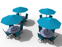 Exterior Bar Table, Chair And Parasol