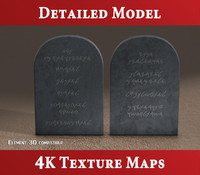 3d c4d tablets stone - commandments