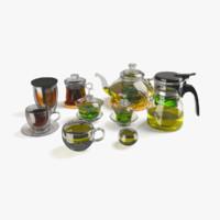 3d tea glassware set glass model