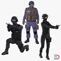 swat rigged policemans 2 3d max