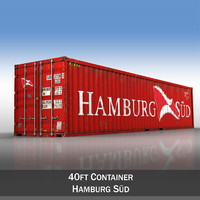40ft shipping container hamburg 3d model