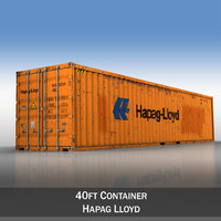 3ds 40ft shipping container hapag