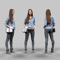 3d model of girl jeans pants
