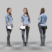 girl jeans trousers 3d model
