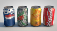 canned beverages pepsi 3d c4d