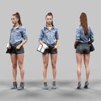 girl leather shorts jeans 3d model