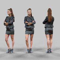 3d girl crossing arms leather