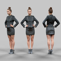 girl leather 3d model