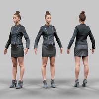 girl leather skirt 3d obj