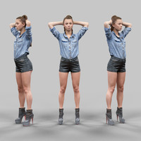 3d girl leather shorts hands