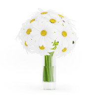 3d model of bouquet daisies glass vase